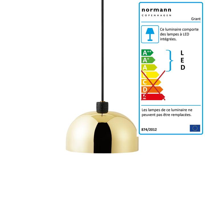 Normann Copenhagen - suspension lumineuse Grant, Ø 23 cm, laiton