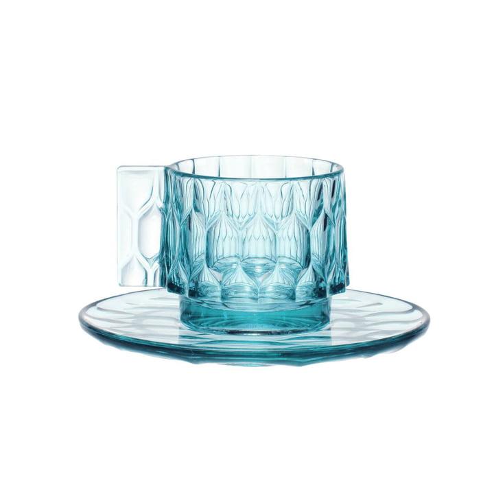 La tasse à expresso Jellies et la sous-tasse de Kartell en bleu