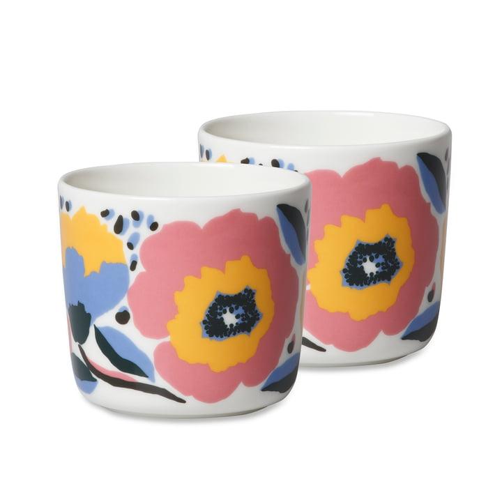 Le gobelet Oiva Rosarium de Marimekko (lot de 2), 200 ml, blanc / rouge / jaune / bleu