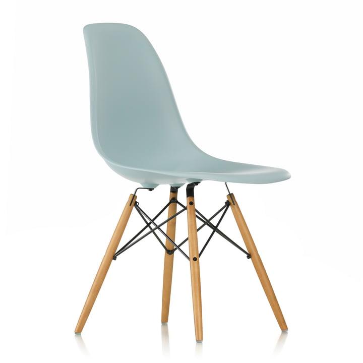 Vitra - Eames Plastic Side Chair DSW (H 43 cm), érable jauni / gris glace, patins feutres blancs