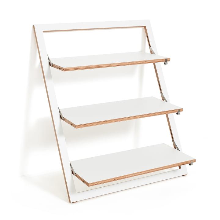 Ambivalenz - Etagère adossée Fläpps, 80 x 100 cm, 3 étagères, blanc