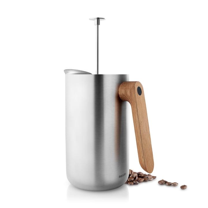 Pichet filtre-presse de cuisine nordique 1 l par Eva Solo en acier inoxydable / chêne