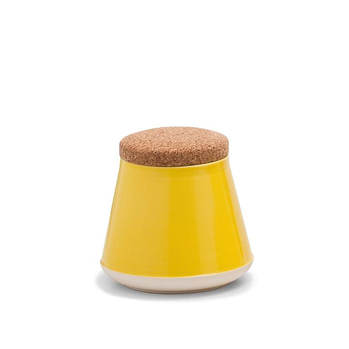 Established & Sons- Récipient en céramique Store avec couvercle, H 14 cm, gloss yellow / matt white