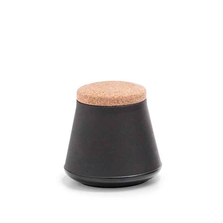 Established & Sons- Récipient en céramique Store avec couvercle, H 14 cm, gloss black / matt black