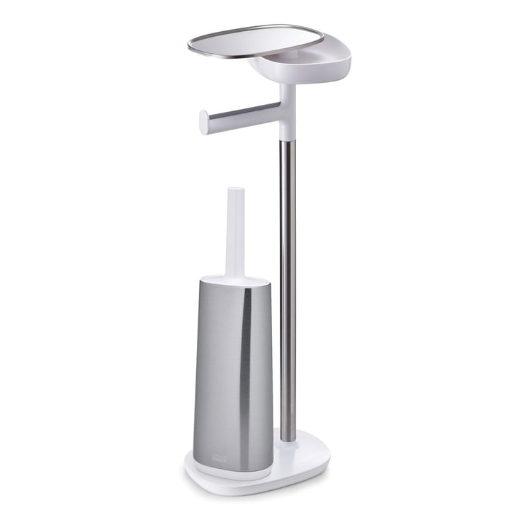 Joseph Joseph - EasyStore Plus Porte-papier hygiénique avec Flex Steel Brosse de toilette, acier inoxydable / blanc