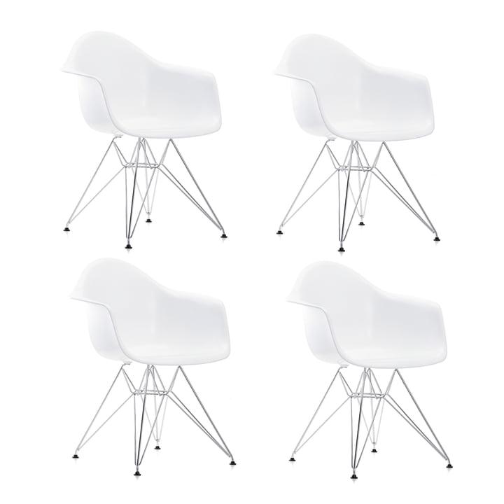 Offre spéciale : 4 x Eames Plastic Armchair DAR by Vitra en chrome / blanc