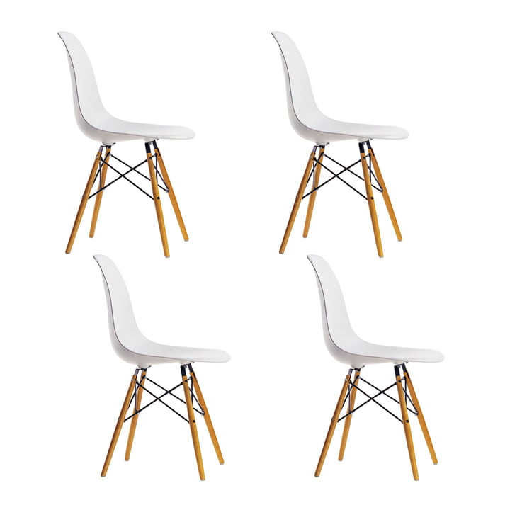 Offre spéciale : 4 x Eames Plastic Side Chair DSW by Vitra en érable jaunâtre / blanc