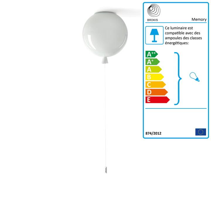 Plafonnier à mémoire Brokis - Ø 25 x H 27,5 cm, blanc / câble blanc