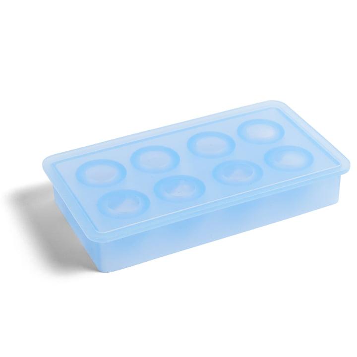 Bac à glaçons en silicone rond par Hay en bleu clair