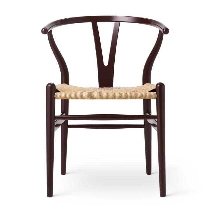 CH24 Chaise Wishbone de Carl Hansen en hêtre Bourgogne foncé / vannerie naturelle (Edition Anniversaire)