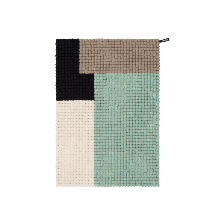 Tapis de boules de feutre en cube, 70 x 100 cm, menthe / noir / blanc / brun par myfelt