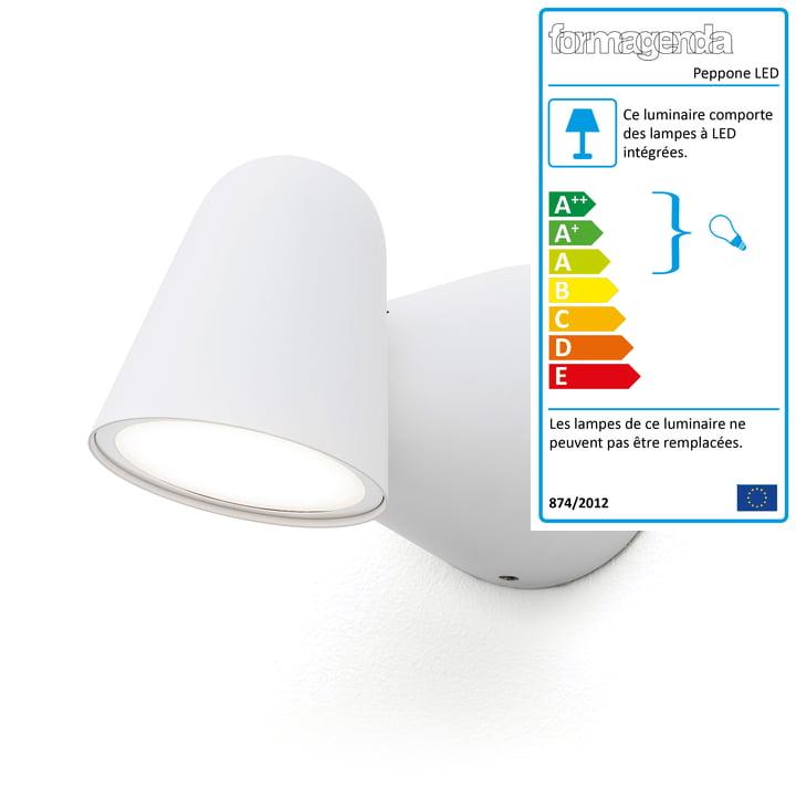 Applique LED Peppone Formagenda en blanc mat