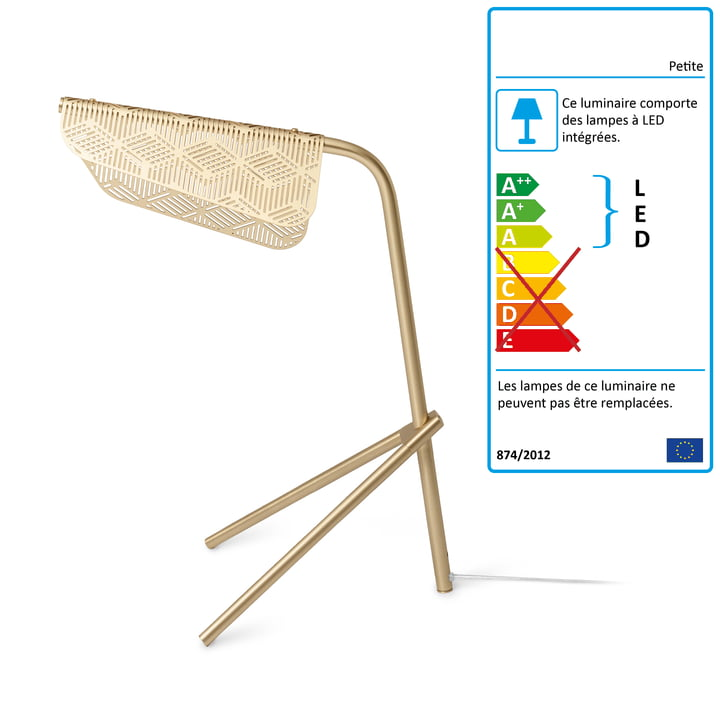 Mediterranea lampe de table LED par Petite Friture laiton brossé