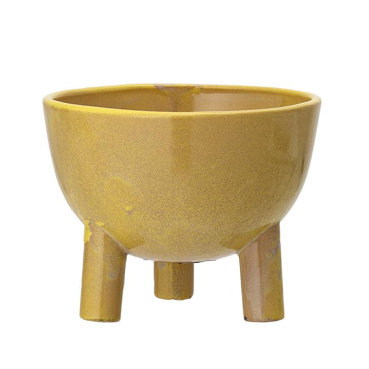 Pot de fleurs en terre cuite avec pieds de Bloomingville, Ø 15 x H 11,5 cm en jaune