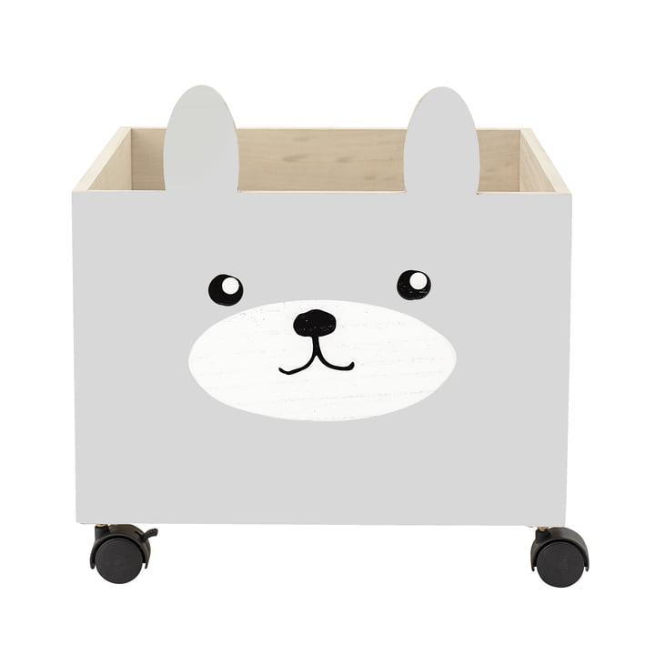 Coffre à jouets avec rouleaux de Bloomingville en gris / blanc