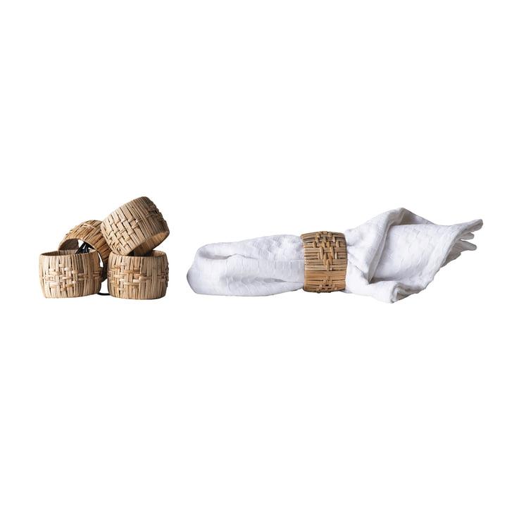 Rond de serviette de Bloomingville, Ø 5 x H 4 cm en nature par lot de 4