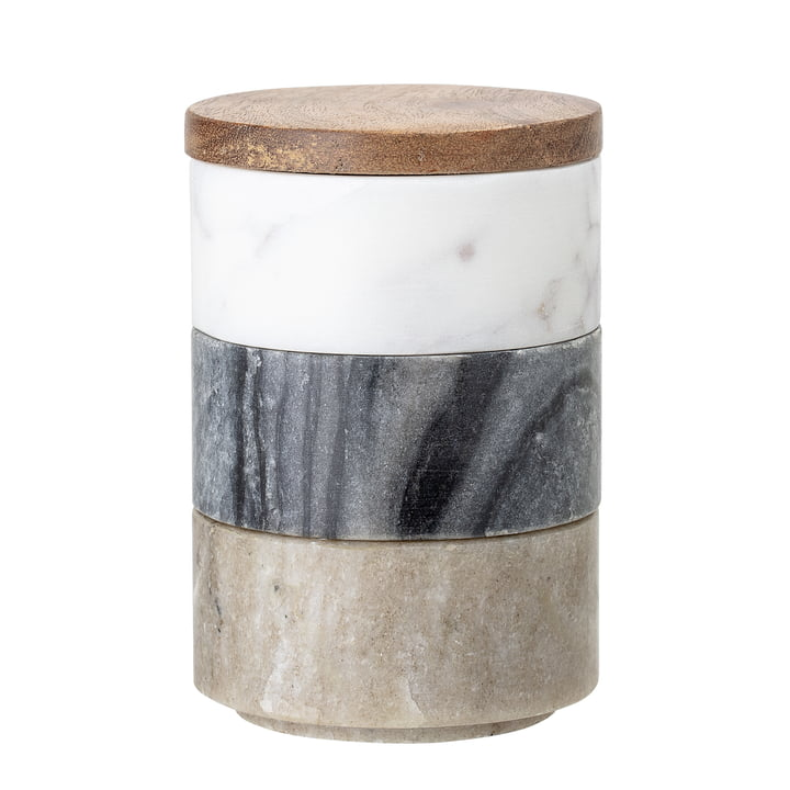 Boîtes de rangement en marbre 3 pcs de Bloomingville en multicolore