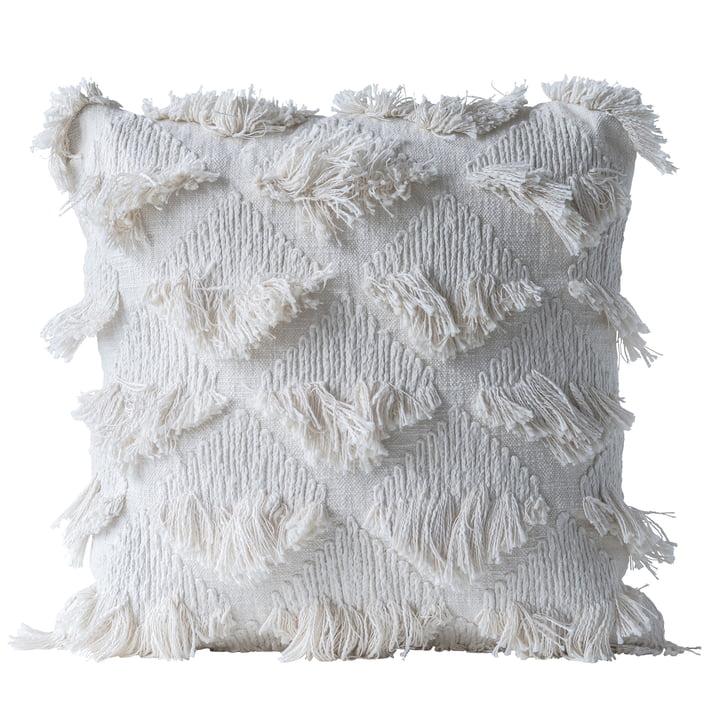 Coussin collecté de Bloomingville, L 55 x l 55 cm en blanc