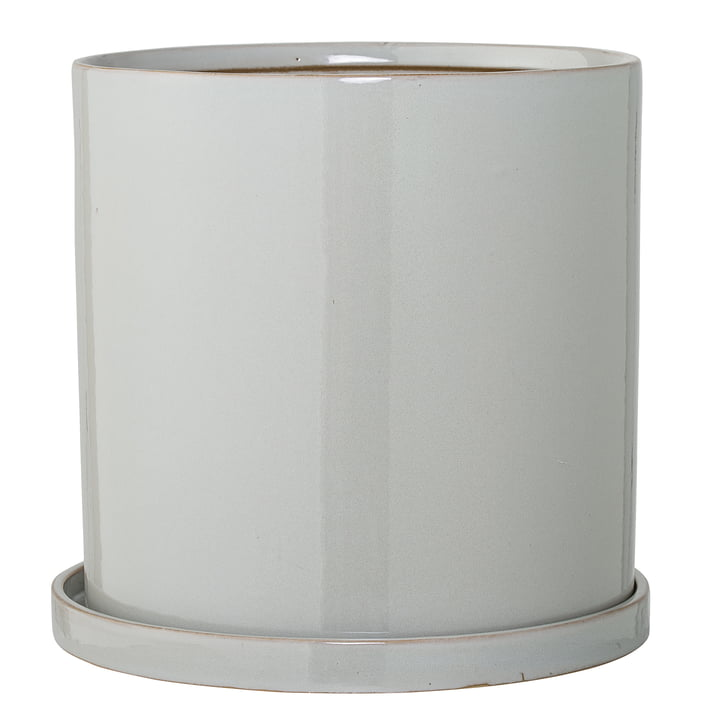 Pot de fleurs avec dessous de verre Bloomingville, Ø 28 x H 27 cm en gris
