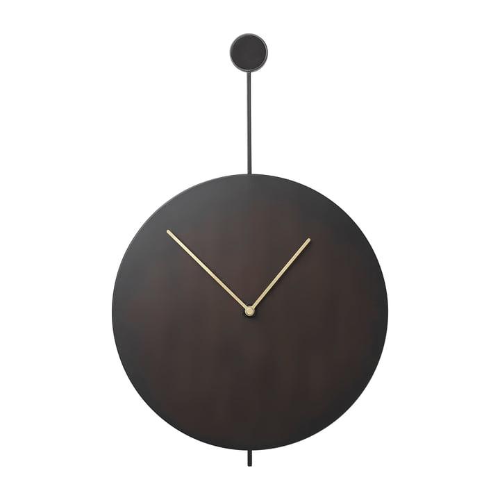 Trace horloge murale en noir / laiton de ferm Living