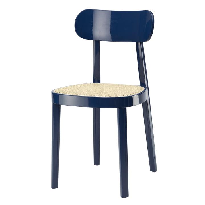 118 Chaise en Thonet osier tubulaire avec tissu de support en plastique / hêtre laqué bleu saphir (RAL 5003) (édition spéciale)