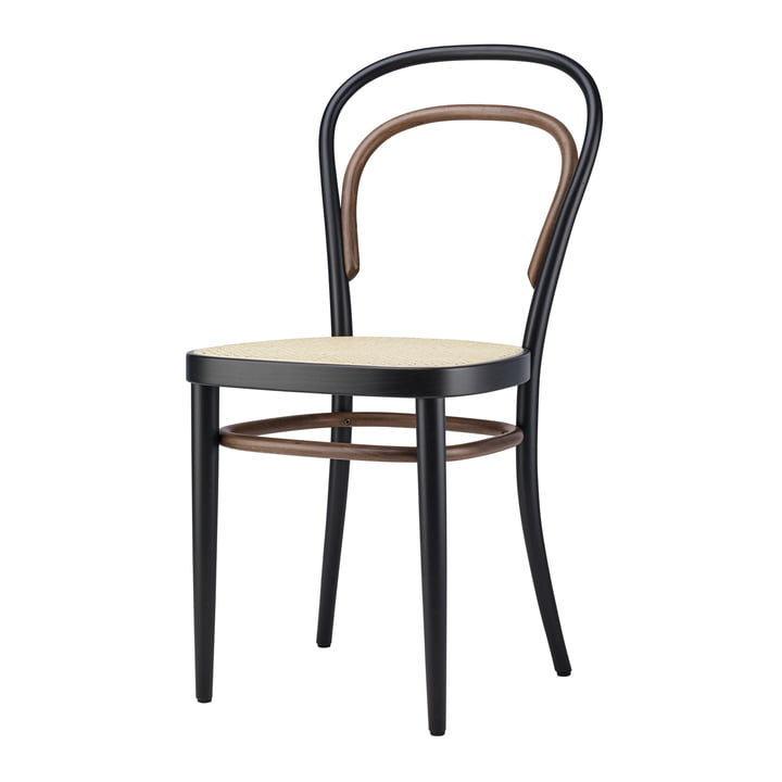 214 Chaise en bois courbé, tissage de canne avec support en plastique / Hêtre bicolore noir par Thonet