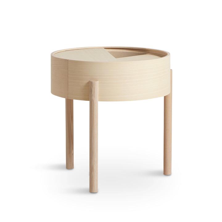 Table d'appoint Arc Ø 42 cm H 45 cm de Woud en frêne pigmenté blanc cendré