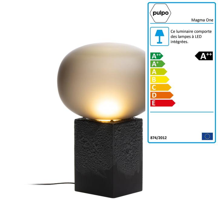 Lampe de table Magma One High de Pulpo en gris fumée / noir