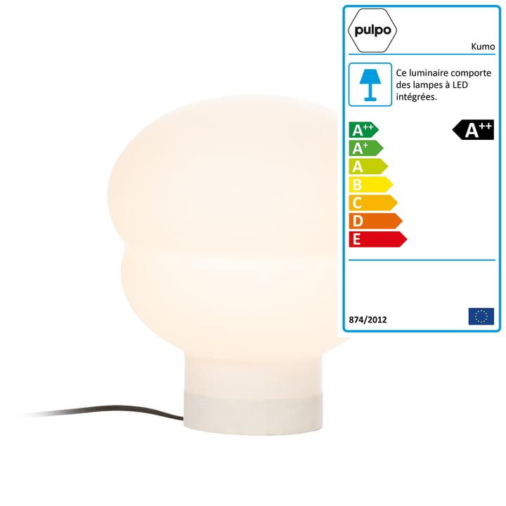 Lampe de table Kumo petite par Pulpo en blanc