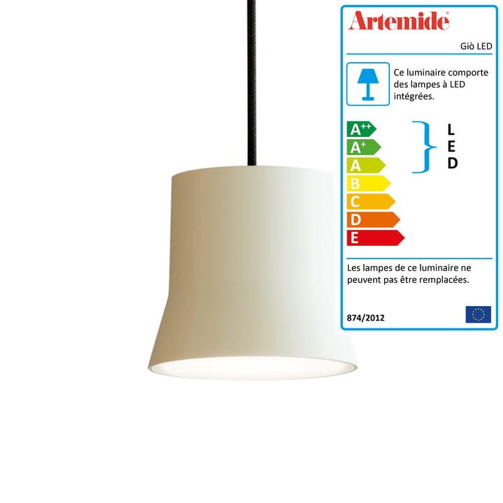 Giò luminaire suspendu LED d'Artemide en blanc