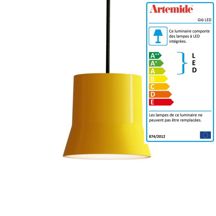 Giò luminaire suspendu LED d'Artemide en jaune