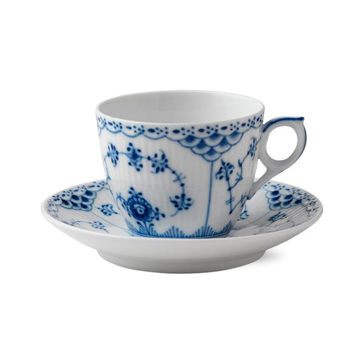 Tasse et soucoupe demi-malet 17 cl en blanc / bleu de Royal Copenhagen