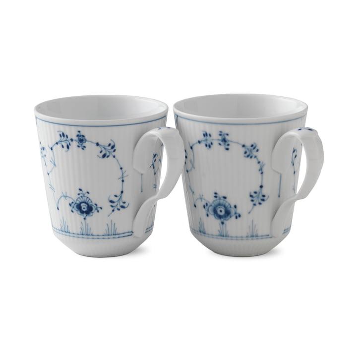 Musselmalet Coupe à côtes 37 cl en blanc / bleu (lot de 2) par Royal Copenhagen