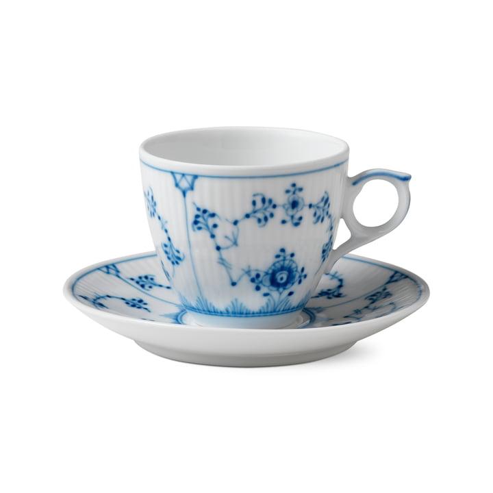 Tasse à espresso avec soucoupe 10 cl en blanc / bleu par Royal Copenhagen