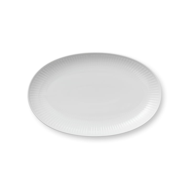 Plat de service blanc à côtes ovales 23 cm de Royal Copenhagen