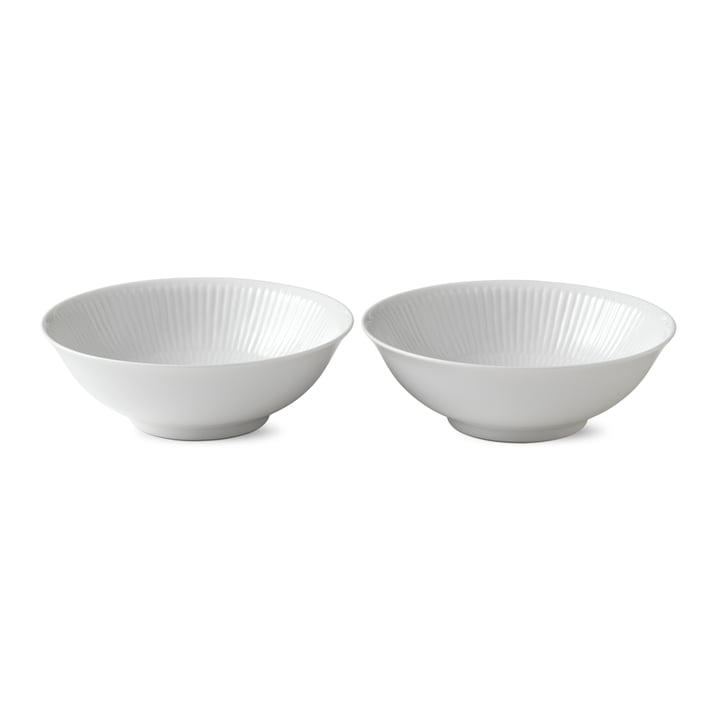 Bol à côtes blanches, 35 cl (ensemble de 2) par Royal Copenhagen