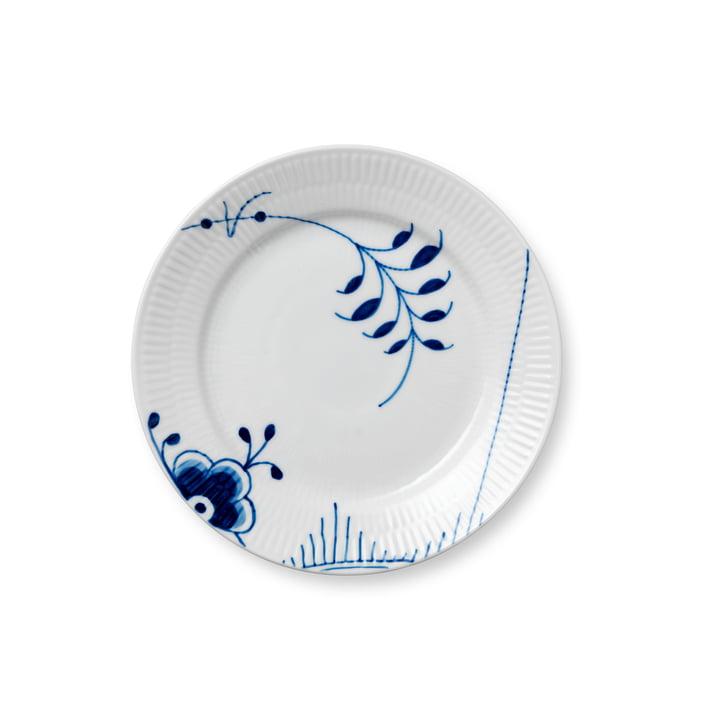 Mega Assiette à déjeuner striée bleue plate Ø 19 cm de Royal Copenhagen avec décor n° 2
