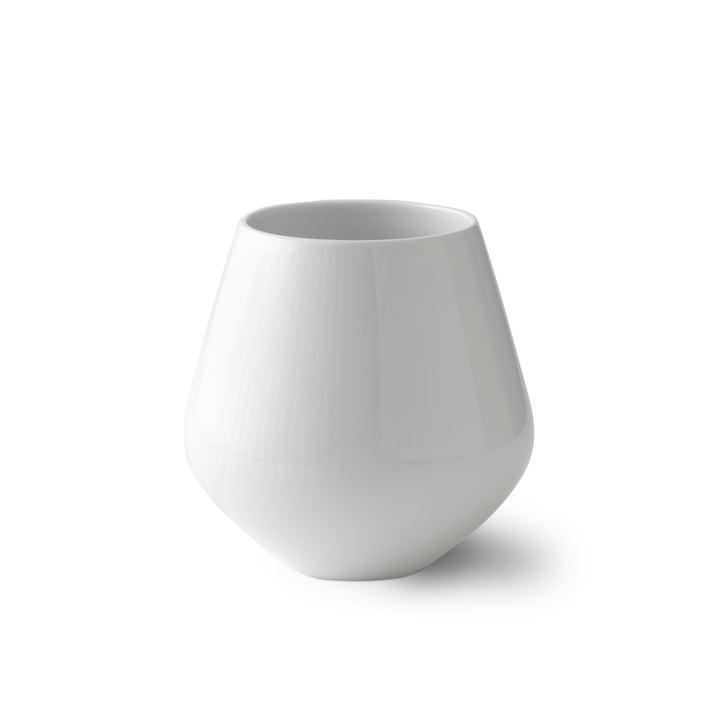 Vase à nervures blanches petit H 12 cm de Royal Copenhagen