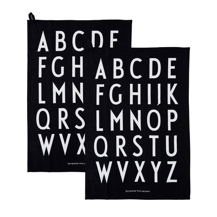 Classic Torchon en noir (lot de 2) de Design Letters