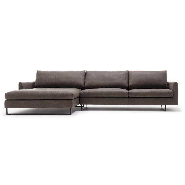 134 Coin canapé avec fauteuil d'appoint à gauche de freistil avec housse en brun-gris (9225)