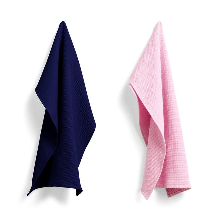 Torchon gaufre 75 x 52 cm de Hay en rose cool / bleu nuit (ensemble de 2)