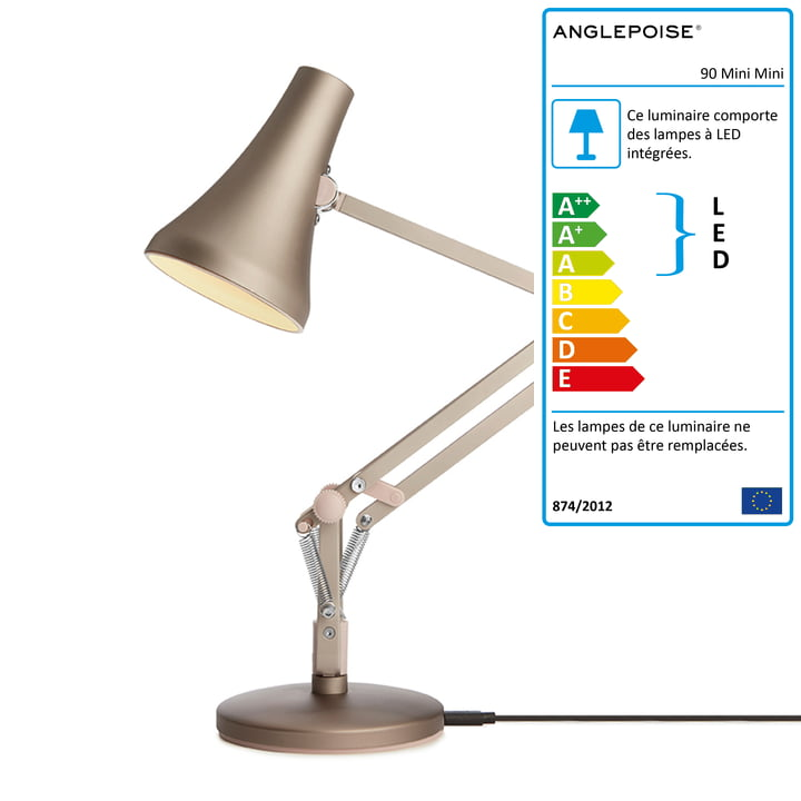 Lampe de table 90 Mini Mini LED d' Anglepoise en argent chaud / blush