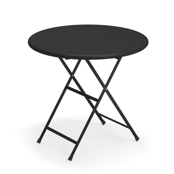 Table pliante Arc en Ciel, Ø 80 x H 74 cm en noir par Emu