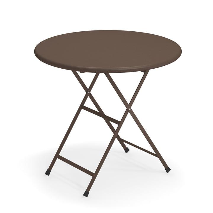 Table pliante Arc en Ciel, Ø 80 x H 74 cm en brun indien par Emu