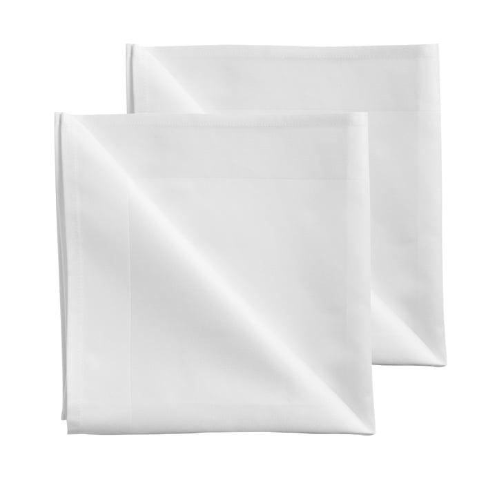 Serviettes de table en tissu damassé 50 x 50 cm de Georg Jensen Damask en blanc (ensemble de 2)