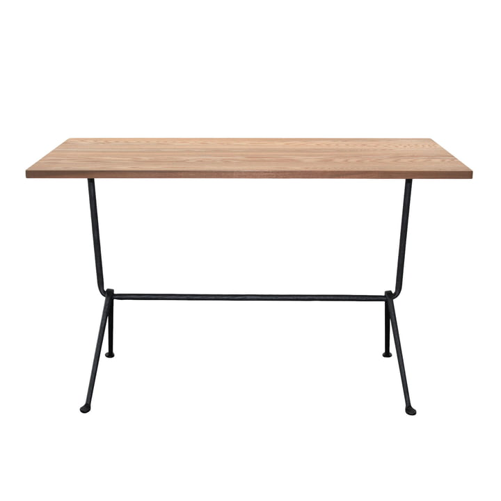 Table bistrot Officina H 72 cm, 80 x 55 cm en gris anthracite / noyer par Magis