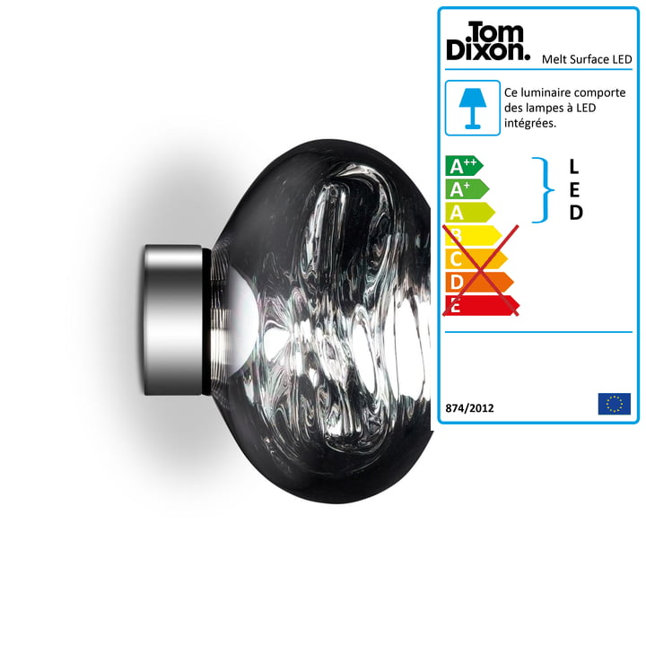 Mini Plafonnier à LED Melt Mini Surface par Tom Dixon en Chrome