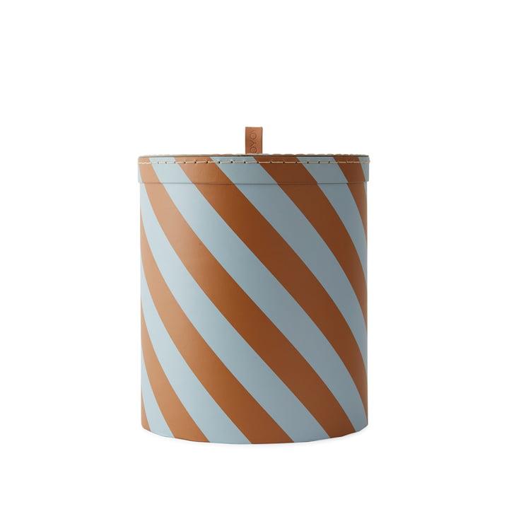 Boîte de rangement M Ø 23 x H 26 cm de OYOY en chameau / bleu