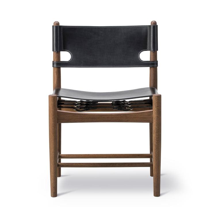 Chaise de salle à manger espagnole en chêne fumé / cuir noir par Fredericia
