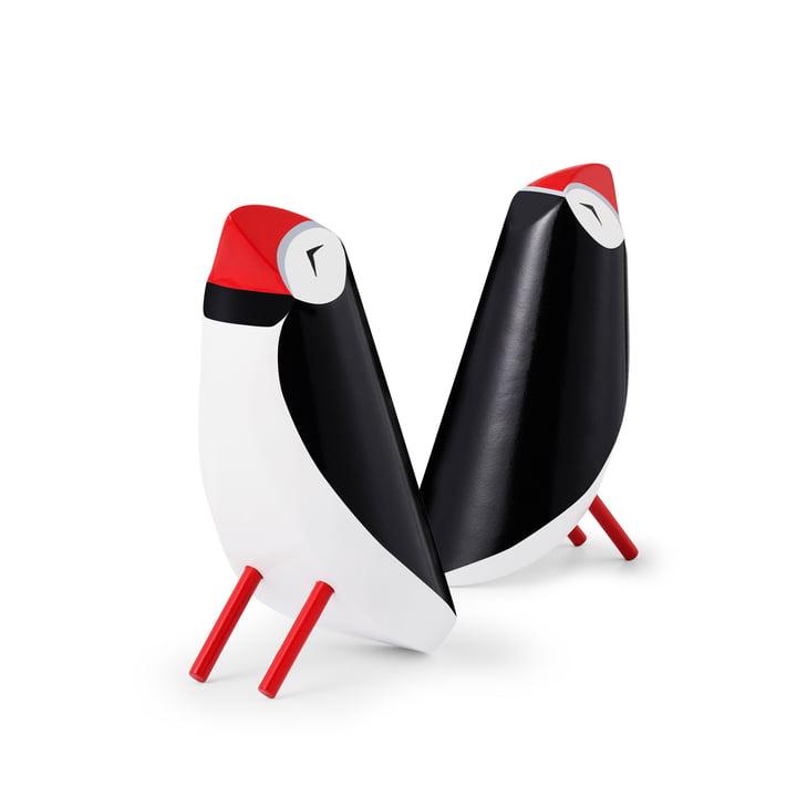 Figurine perroquet souffleur en bois, noir / blanc par Normann Copenhagen